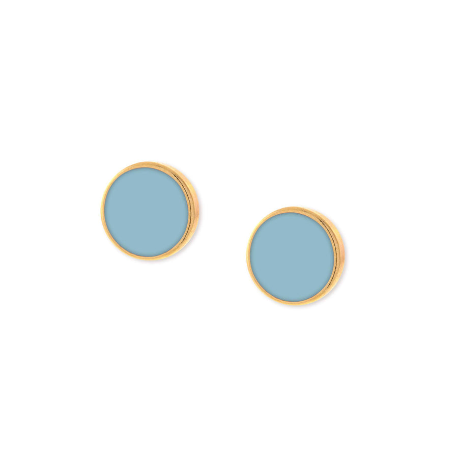 14K Gold Dipped Large Round Light Blue Enamel Button Earring - upcube