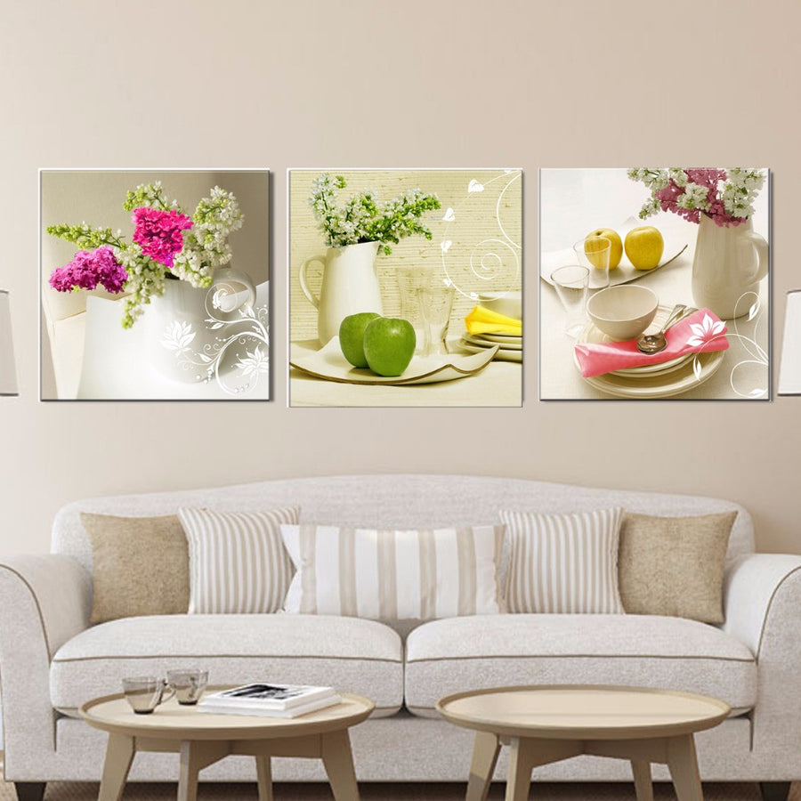 3 Pcs Canvas paintings for kitchen fruit wall decor modern flowers canvas art wall decorative pictures for living room No Frame Home Decor Amoy Art Store- upcube