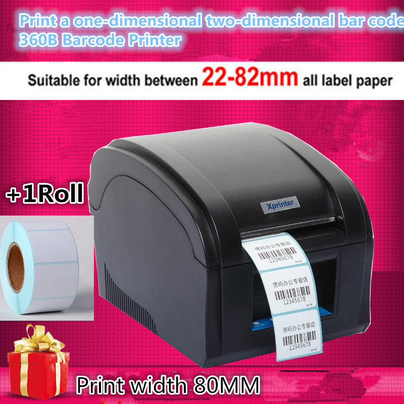 360B Barcode label printers Thermal  clothing label printer Support 80mm printing Get Labels paper 1 Label printing paper Roll Printers foshan printer scanner Store- upcube