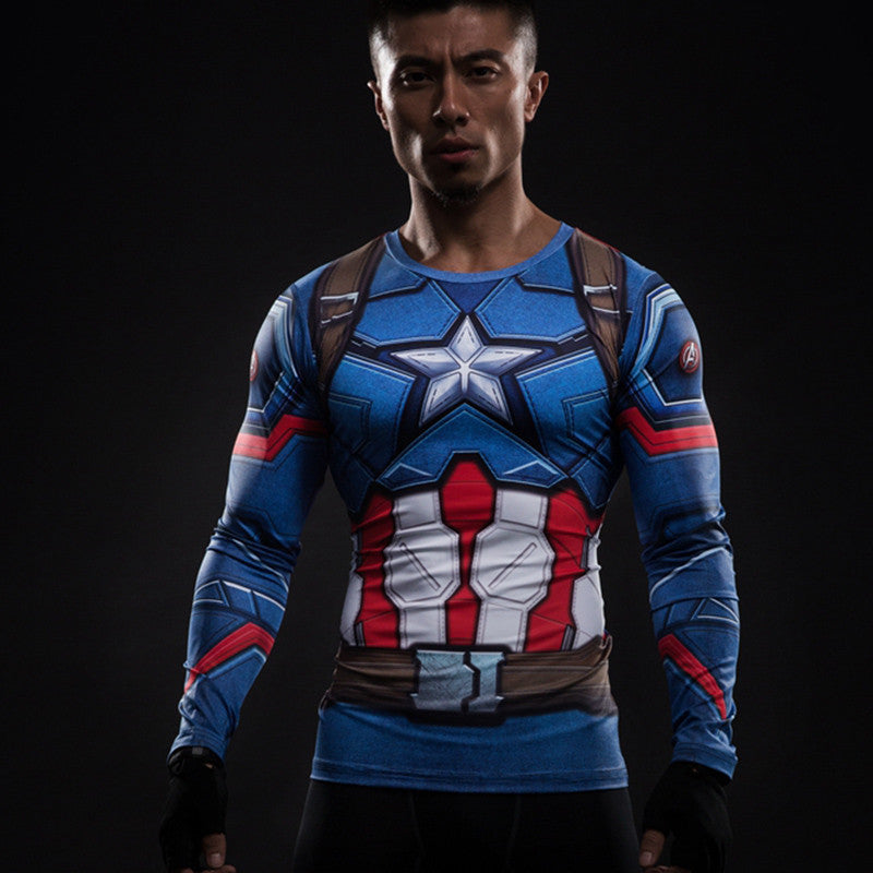 3D Printed T-shirts Captain America Compression Shirt Long Sleeve Cosplay Costume Clothing Tops Male Halloween Costumes For Men Captain America Superheros- upcube