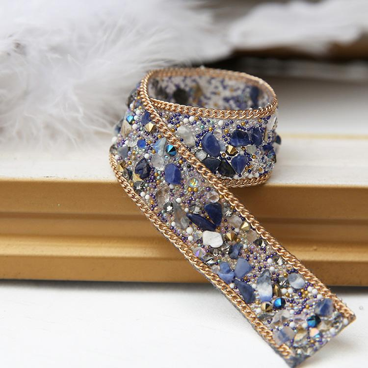Blue handmade diamond belt, fashion belt