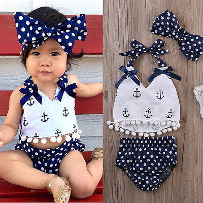 b500b6dc0b3b7 3pcs Baby Girl Clothes Set Baby Anchor Tops+Polka Dots Briefs Summer  Outfits Set Sunsuit