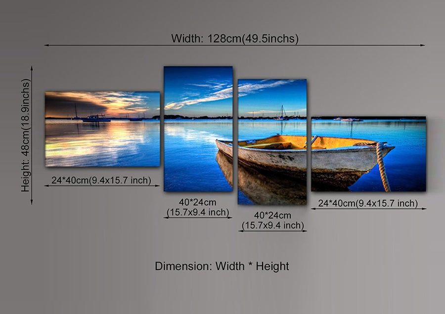 4 Piece Scene of Sea Boat Nature Beauty Wall Art Canvas Paintings for Living Room Bedroom Office Decor dropship is welcomed
