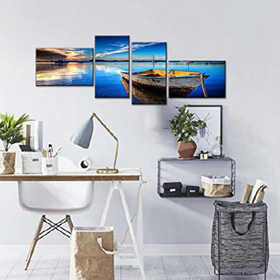 4 Piece Scene of Sea Boat Nature Beauty Wall Art Canvas Paintings ...