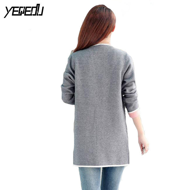 #4009 2017 Woman spring coat Grey/pink Long trench coat Big size Knitted Open stitch Female trench coat Windbreaker Cardigan 4XL - upcube