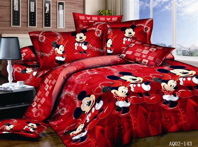 4PCS 100% Cotton Bed Linen 3d Mickey Mouse Bedding Sets Minnie Kids Duvet  Cover King