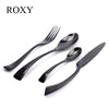 4Pcs/ Black Cutlery Set Stainless Steel Flatware Western Food Tableware Sets Fork Steak Knife Spoon Tea Spoon Dinnerware Set Dinnerware Kitchenware Wholesale Store- upcube