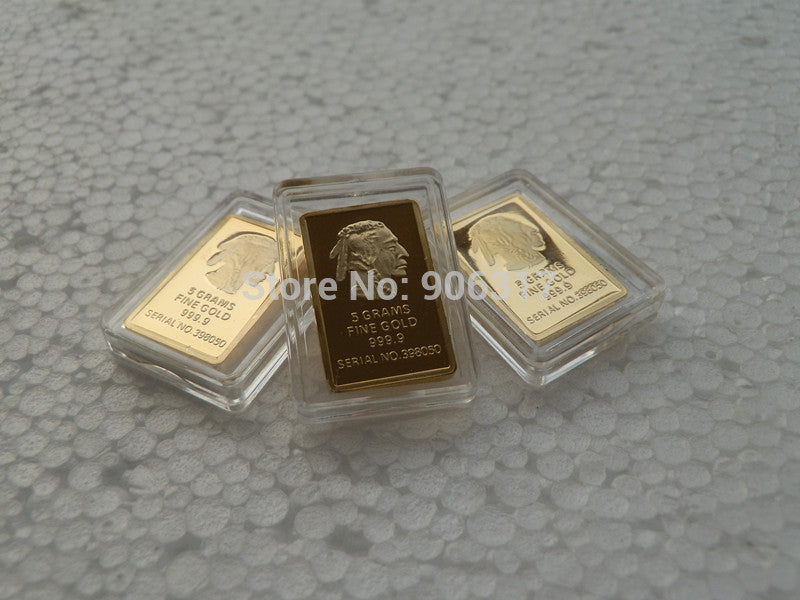 5 Grams India head Fine Gold 999.9 Serial NO.398050 Gold Plated Replica Bar  5pcs/lot Gold Bar Mint Coin Store- upcube