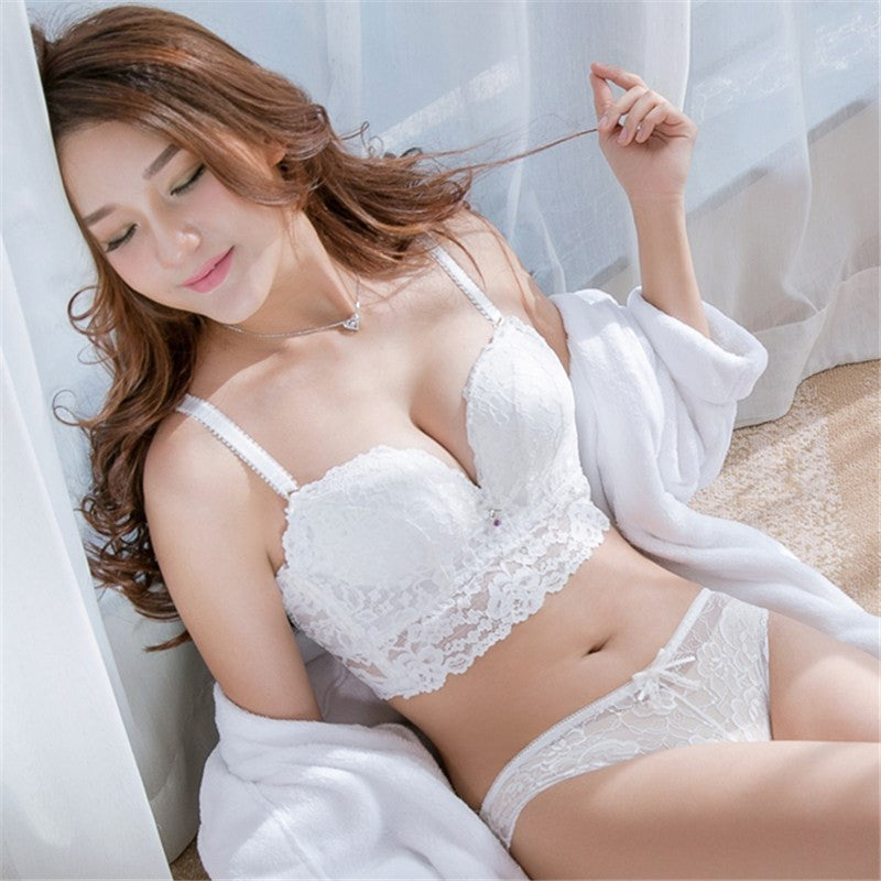 5389d0be7c 5 breasted full lace brassiere transparent panties sets push up fashion  sexy adjustable female Intimates girls