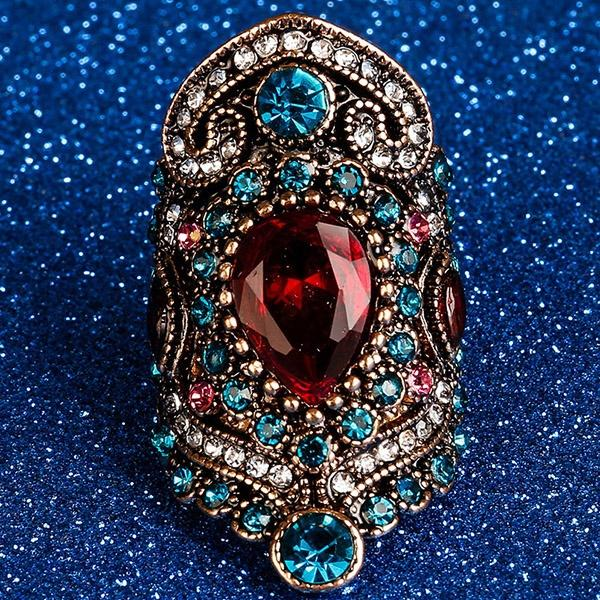 Women Vintage Rings Turkey Jewelry Gift Crystal Rhinestone Sapphire Wedding Ring