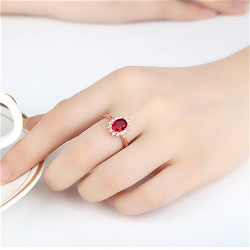 Fashion Crystal Ruby Diamond Open Adjustable Ring 18K Rose Gold Engagement Rings Wedding Rings for Women