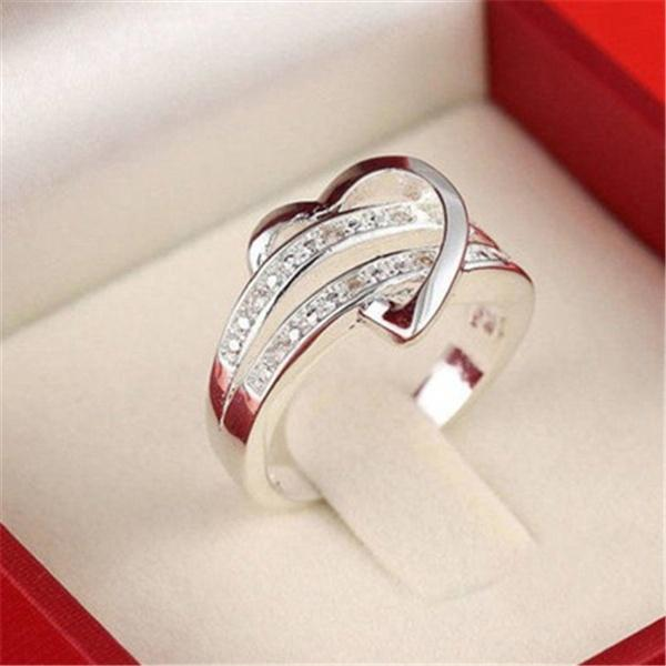 2017 Fashion Newest 925 Silver Bling Gemstone Heart Love Women Wedding Ring Size 6 7 8 9 Gift
