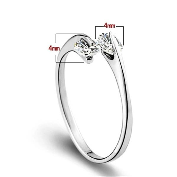 Fashion Korean Simple Elegant Opening Silver 2 Rhinestone S925sliver Crystal Wedding Ring