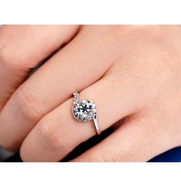 Luxury 925 Silver Sterling Wedding Ring Bling Diamond Geometry Jewelry for Women Gifts