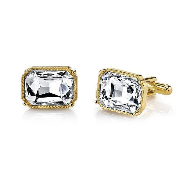 14K Gold Dipped Rectangle Crystal Cufflinks - upcube