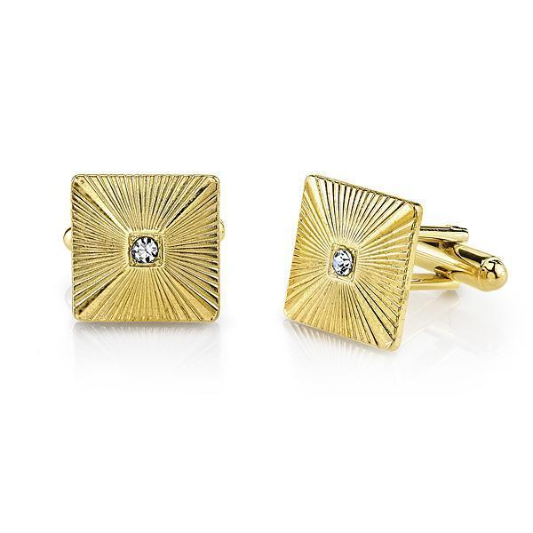 14K Gold Dipped Crystal Square Cufflinks - upcube