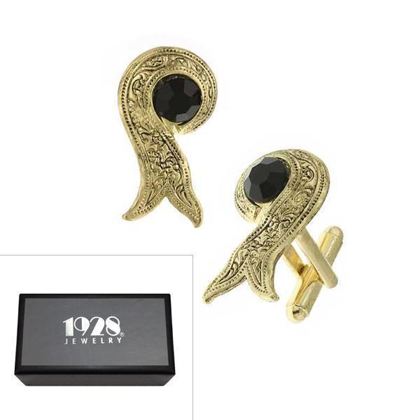 14K Gold Dipped Black Crystal Ribbon Cufflinks - upcube