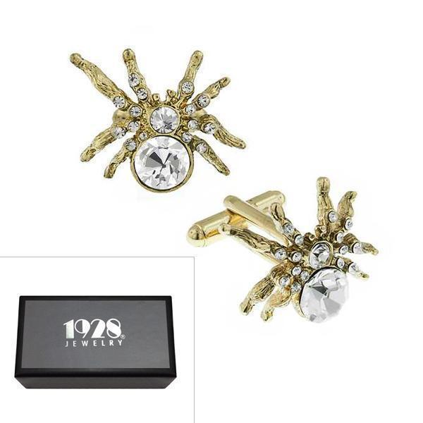 14K Gold Dipped Crystal Spider Cufflinks - upcube