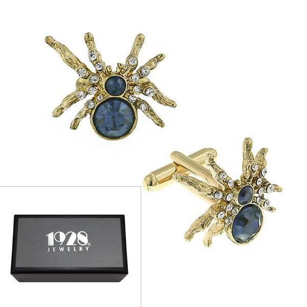 14K Gold Dipped Blue and Crystal Spider Cufflinks - upcube