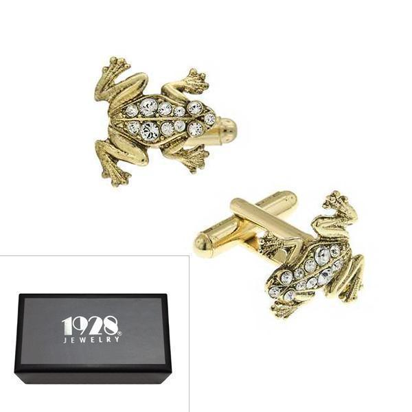14K Gold Dipped Crystal Frog Cufflinks - upcube