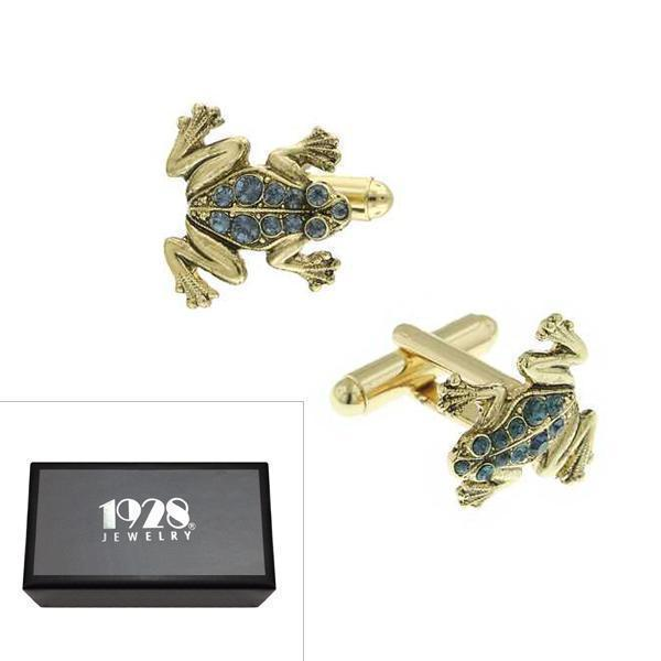 14K Gold Dipped Blue Crystal Frog Cufflinks - upcube