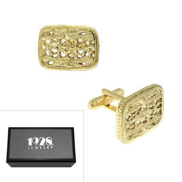 14K Gold Dipped Filigree Rectangle Cufflinks - upcube