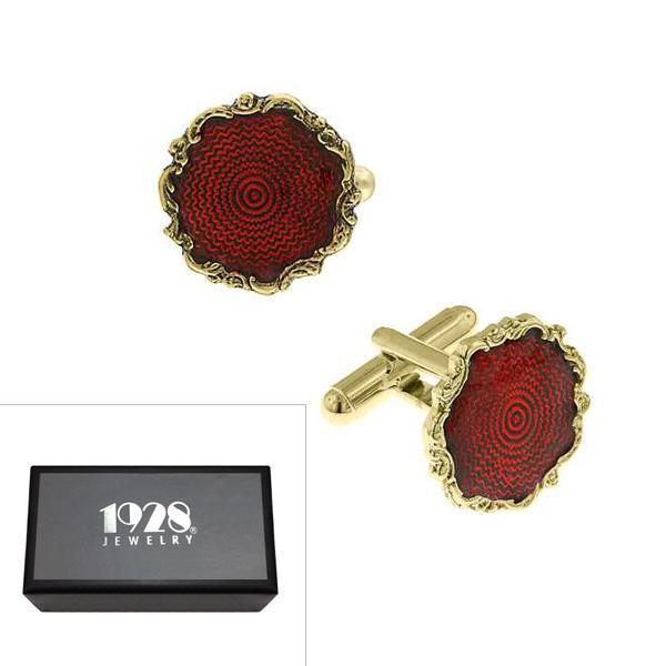 14K Gold Dipped Red Enamel Round Cufflinks - upcube