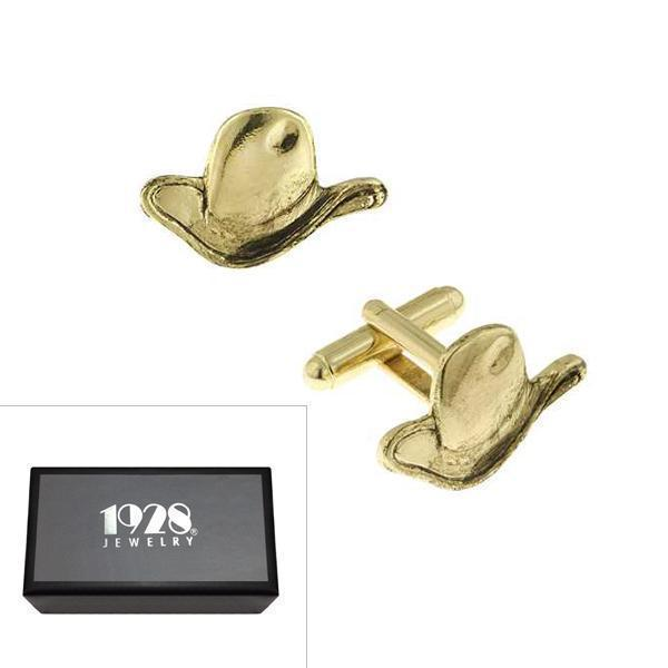 14K Gold Dipped Cowboy Hat Cufflinks - upcube