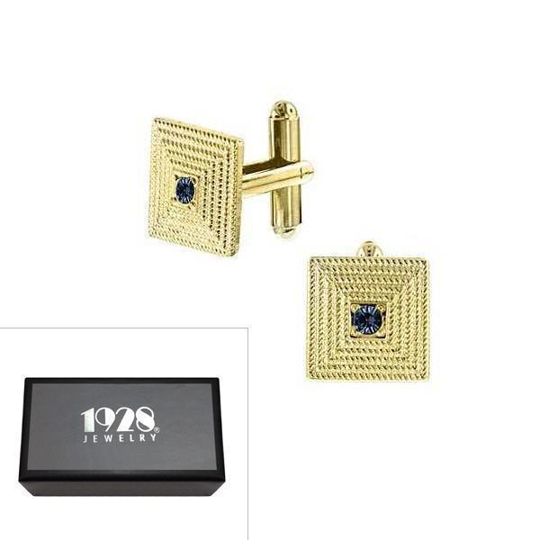 14K Gold Dipped Blue Crystal Square Cufflinks - upcube