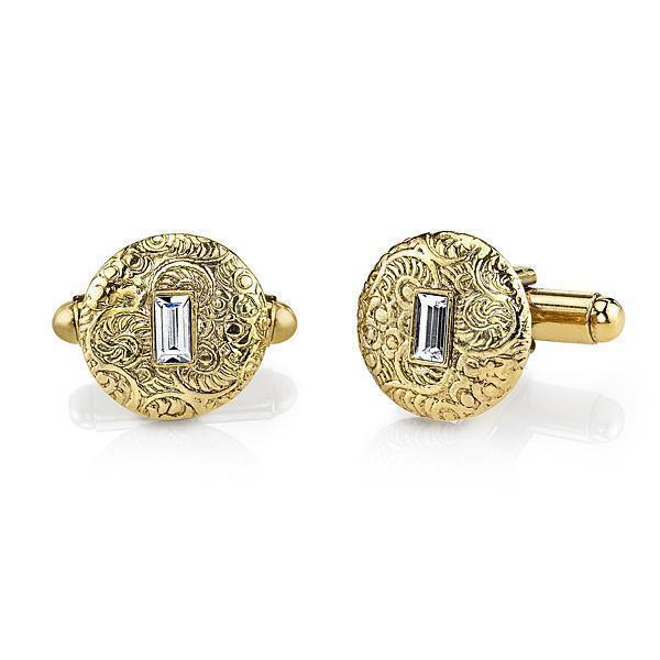 14K Gold Dipped Crystal Small Round Cufflinks - upcube