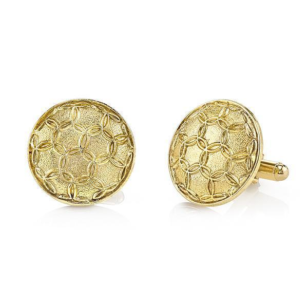 14K Gold Dipped Large Round Cufflinks - upcube
