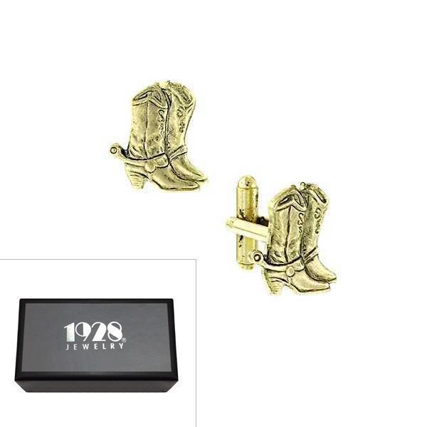 14K Gold Dipped Cowboy Boots Cufflinks - upcube