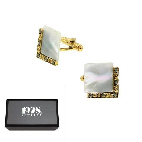 14K Gold Dipped Mother of Pearl Square Cufflinks - upcube