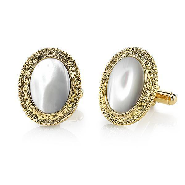 14K Gold Dipped Mother of Pearl Oval Cufflinks - upcube