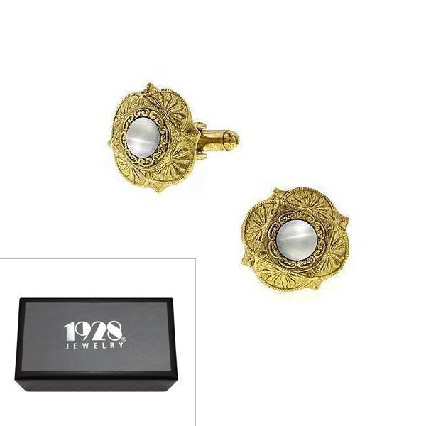 14K Gold Dipped Mother of Pearl Cufflinks - upcube