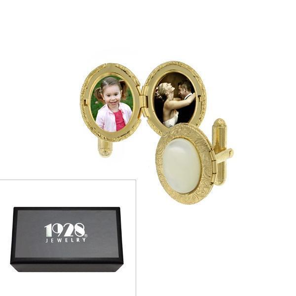 14K Gold Dipped Mother of Pearl Oval Locket Cufflinks - upcube