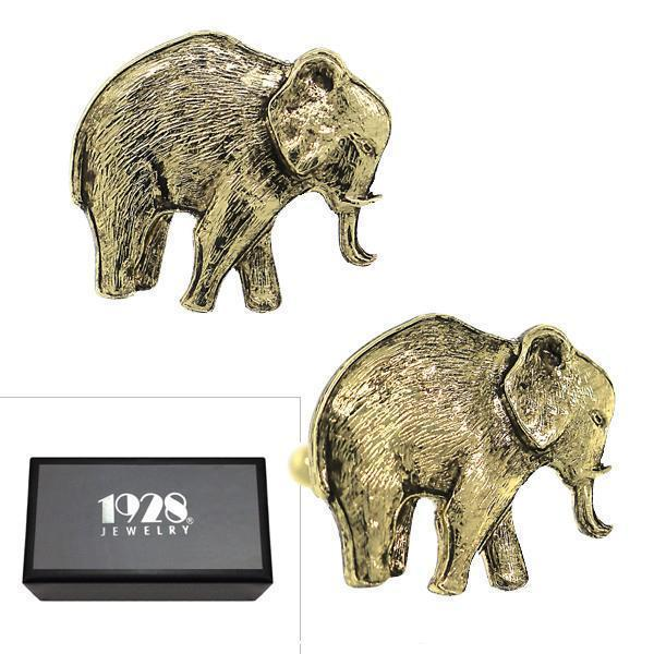 14K Gold Dipped Elephant Cufflinks - upcube
