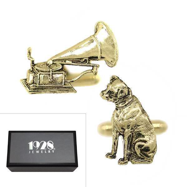 14K Gold Dipped Dog and Phonograph Cufflinks - upcube
