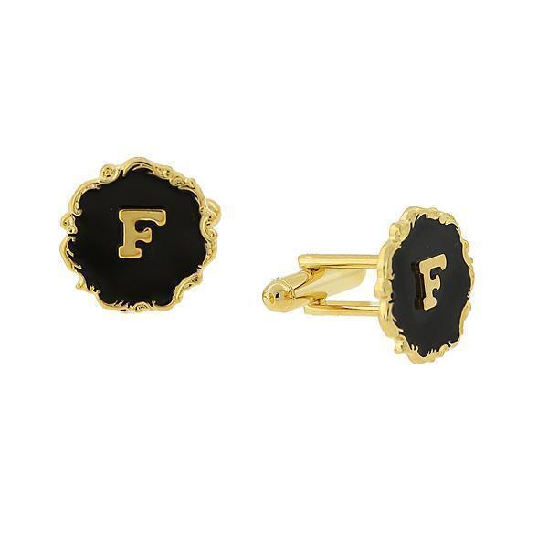 "14K Gold Dipped Black Enamel Initial ""F"" Cufflinks - upcube"