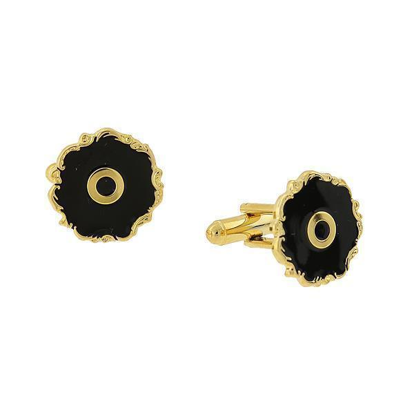 "14K Gold Dipped Black Enamel Initial ""O"" Cufflinks - upcube"