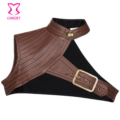 6XL Plus Size One Shoulder Stand Collar Leather Black Gothic Jacket Steampunk Coat Women Sexy Costume Vintage Corset Accessories Bustiers & Corsets Sexy Corset Store- upcube