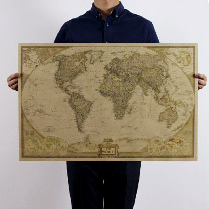 72*47cm & 104*69cm World Map Art Crafts Maps Wallpaper Large Retro Kraft Paper Paint Vintage Wall Sticker Poster Living Room