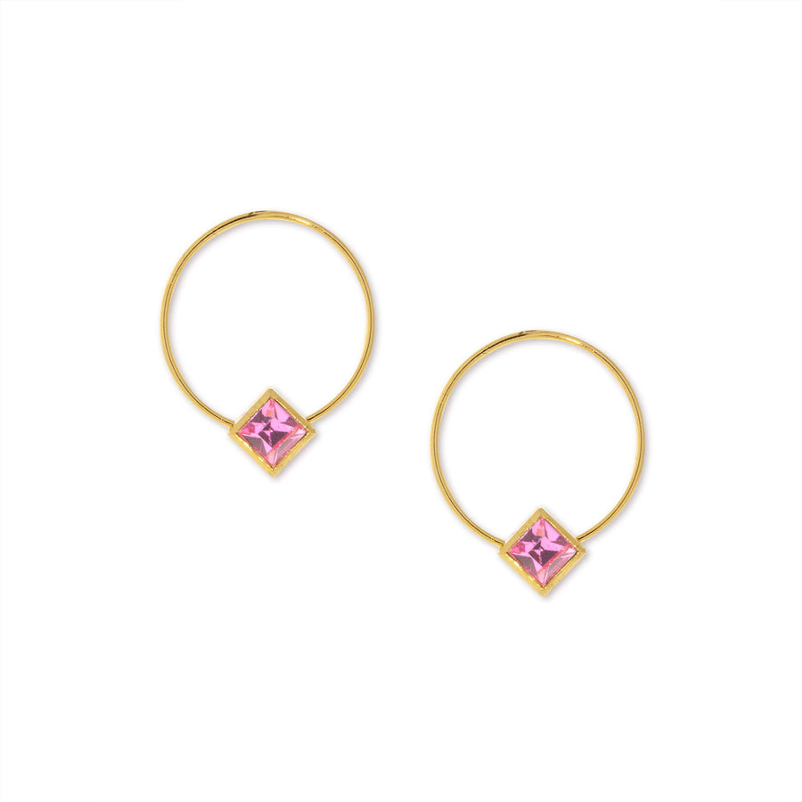 14K Gold Dipped Diamond Shape Pink Crystal Hoop Stainless Steel Post Earring - upcube