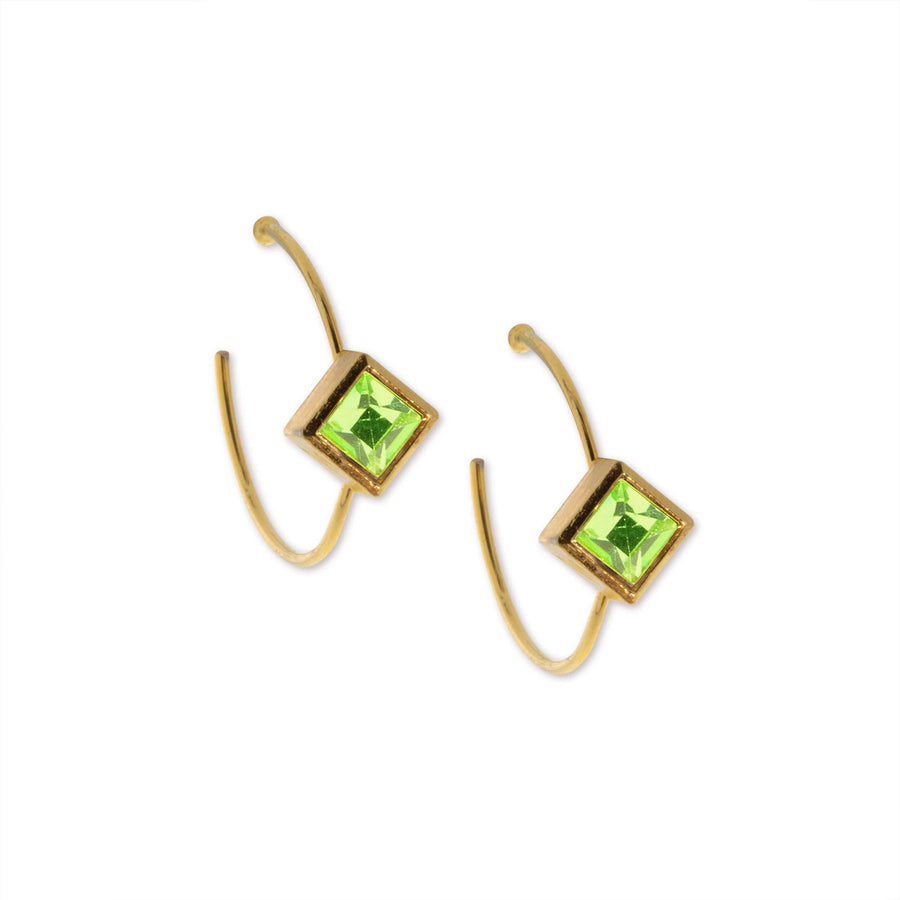 14K Gold Dipped Diamond Shape Green Cryst Open Hoop Stainless Steel Post Earring - upcube