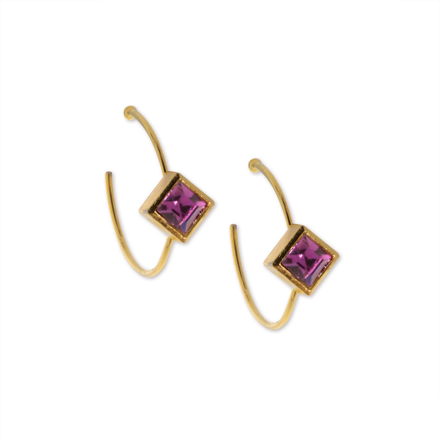 14K Gold Dipped Diamond Shape Purple Crystal Hoop Stainless Steel Post Earring - upcube
