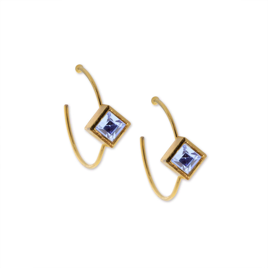 14K Gold Dipped Diamond Shape Blue Cryst Open Hoop Stainless Steel Post Earring - upcube