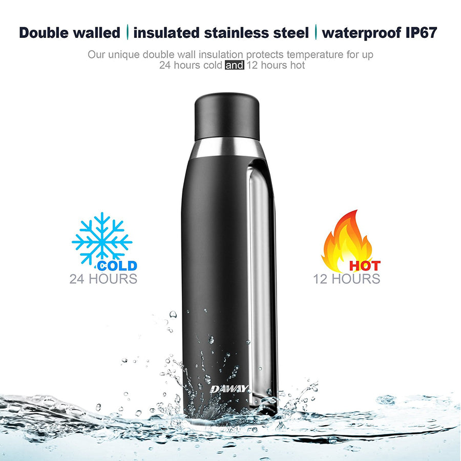Reusable Smart Water Bottle Rechargeable - DAWAY G3 Stainless Steel Vacuum Insulated Water Bottle, Leak Proof, Double Wall, Keep Drink Hot & Cold, Temperature Display, Alarm Reminder, with Holder Bag