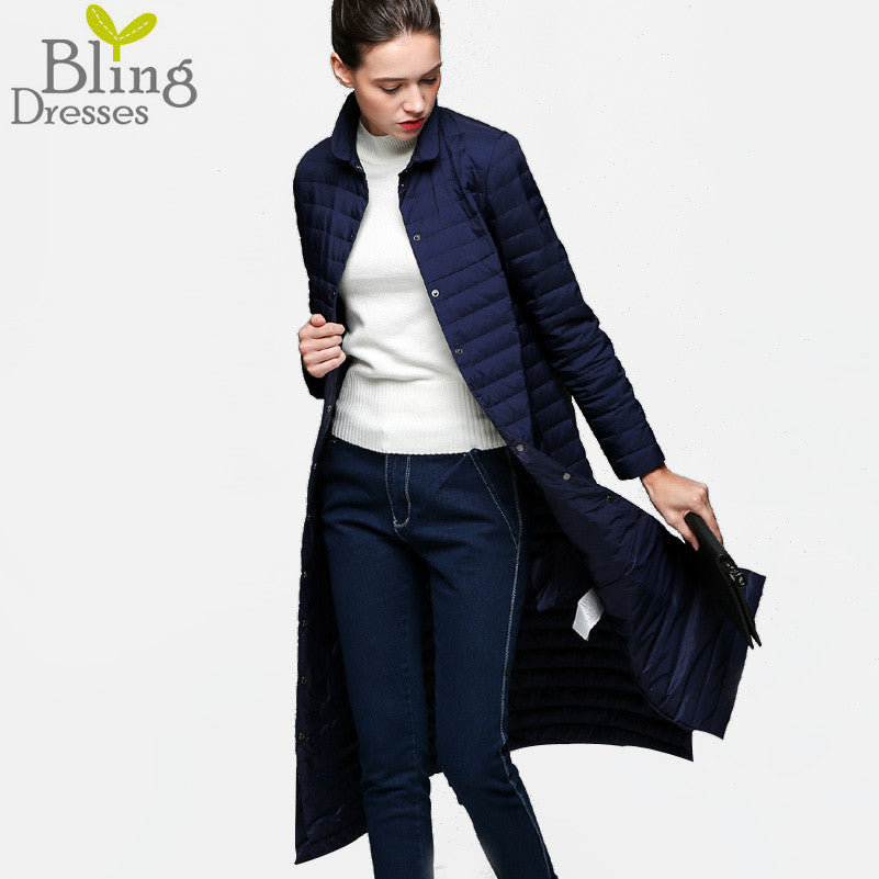 90 % White Duck Down Coat 2016 Snow Winter Jacket Women Fashion Slim Fit Thin Long Knee Single-breasted Jackets Slim Trench Coat