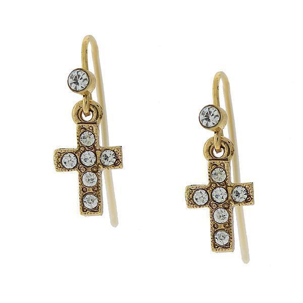 14K Gold Dipped Crystal Cross Wire Drop Earrings - upcube