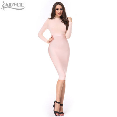 275ebc8551f ADYCE 2017 New Spring Dress women Sexy black pink nude red bandage dress  mesh long sleeves